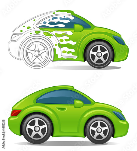 Staande foto Cartoon cars Paint car