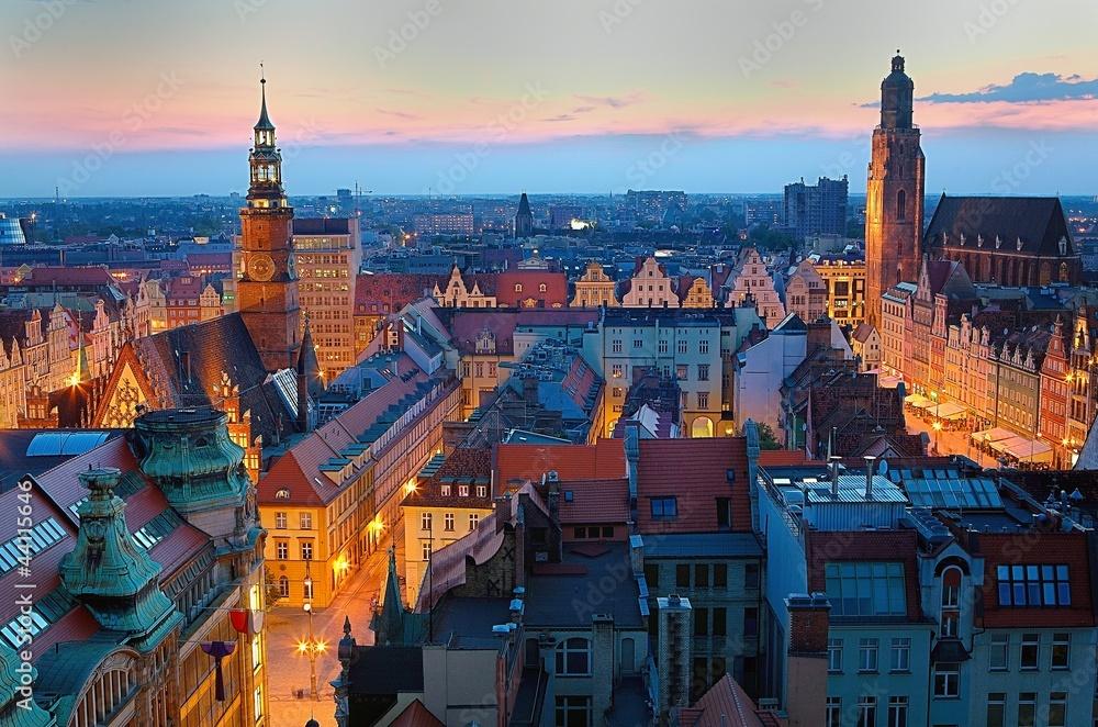 Fototapety, obrazy: Wrocławski rynek o zmierzchu