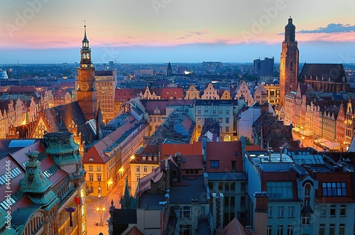 Fototapeta Wrocławski rynek o zmierzchu obraz