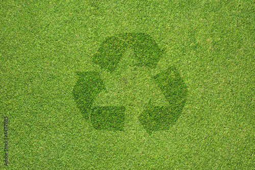 Recycle Icon On Green Grass Texture And Background Buy