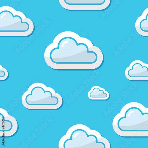 In de dag Hemel Seamless clouds on blue sky background, pattern