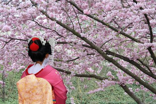 Spoed Foto op Canvas Tokyo Geisha and blooming Sakura tree