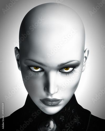 Photo-realistic Illustration of Beautiful Bald Futuristic Woman Wall mural