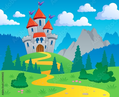 Door stickers Castle Castle theme landscape 1
