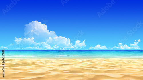 Foto-Leinwand - Idyllic tropical sand beach background. (von sellingpix)