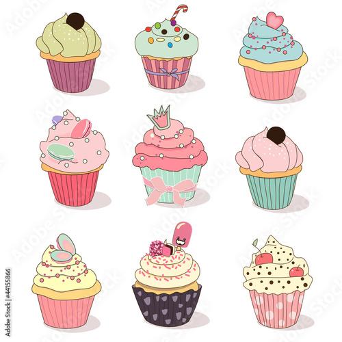 ilustracja-odizolowane-zestaw-cupcake-na-bialym-tle