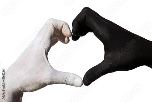 Photo  Herz aus schwarz-weißen Haenden