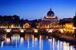 Sant' Angelo Bridge and Basilica of St. Peter in Rome, Italy