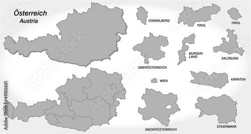 Fotografie, Obraz  Österreich und Kantone in grau