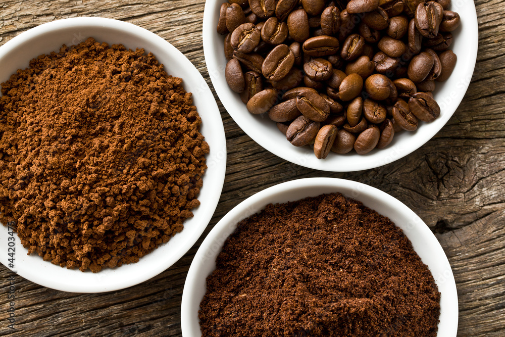 Fototapety, obrazy: coffee beans, ground coffee and instant coffee