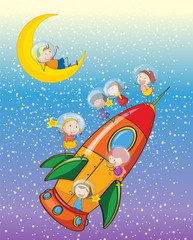 Fototapetakids on moon and spaceship