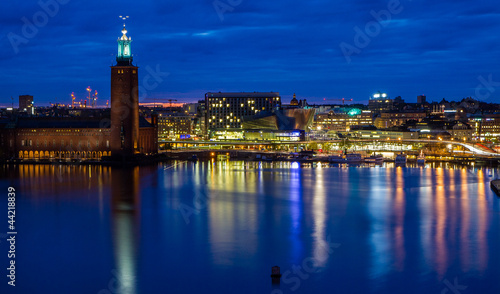 Staande foto Stockholm Stockholm cityhall skyline during night