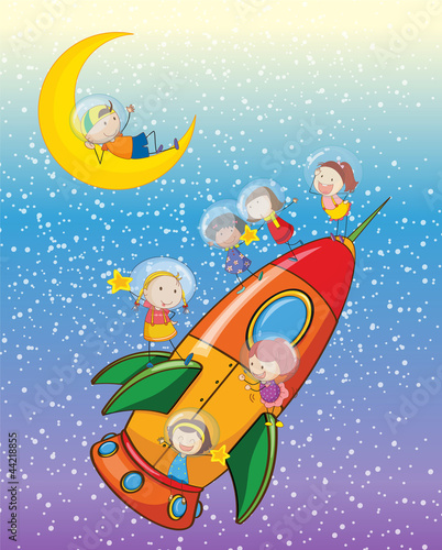 Deurstickers Kosmos kids on moon and spaceship