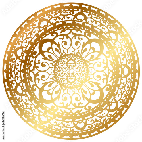 Stampa su Tela Vector illustration of gold oriental rug / napkin