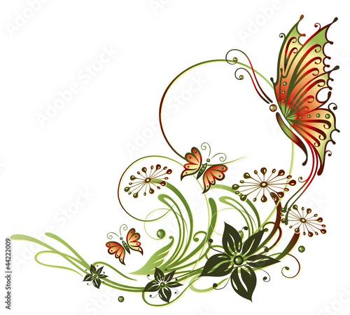 tendril-flora-kwiat-kwiat-motyl-zielony-czerwony