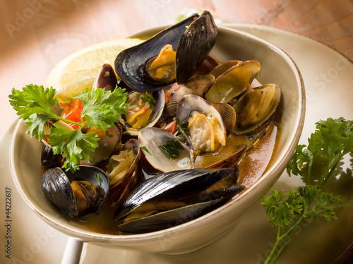 mussel and clam soup #44222687