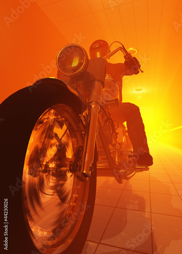 Poster Motocyclette Silhouette of a rider on an orange background.