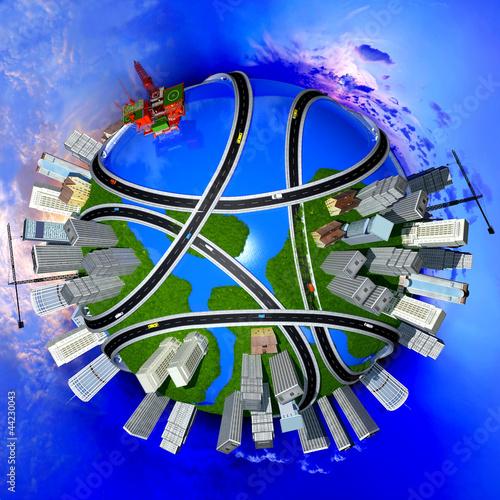 Poster de jardin Route Model of the globe