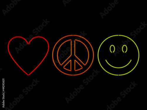 Neon Love Peace And Happiness Buy This Stock Vector And Explore