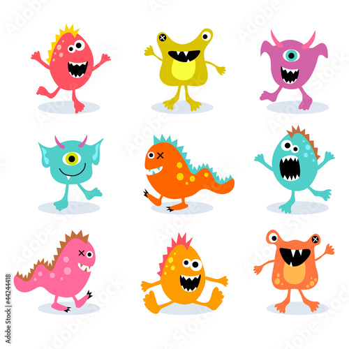 Poster de jardin Creatures set of cute little monsters