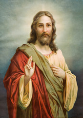 Naklejka Popularne Copy of typical catholic image of Jesus Christ