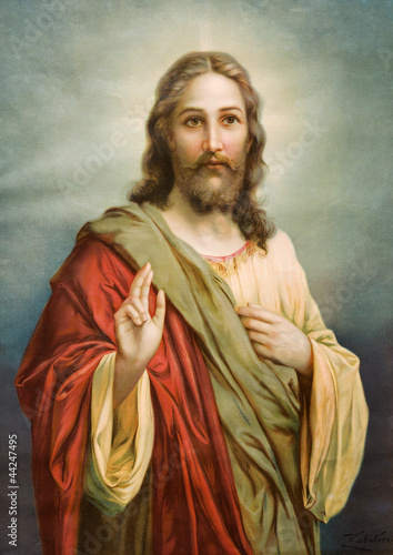 Foto  Copy of typical catholic image of Jesus Christ
