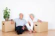 canvas print picture - lachendes älteres paar beim umzug
