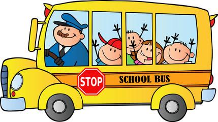 Fototapeta samoprzylepna Happy Children On School Bus