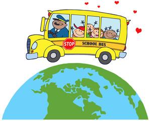 Fototapeta samoprzylepna Happy Children On School Bus Around Earth