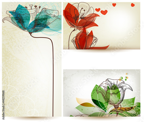 Deurstickers Abstract bloemen Vintage floral backgrounds