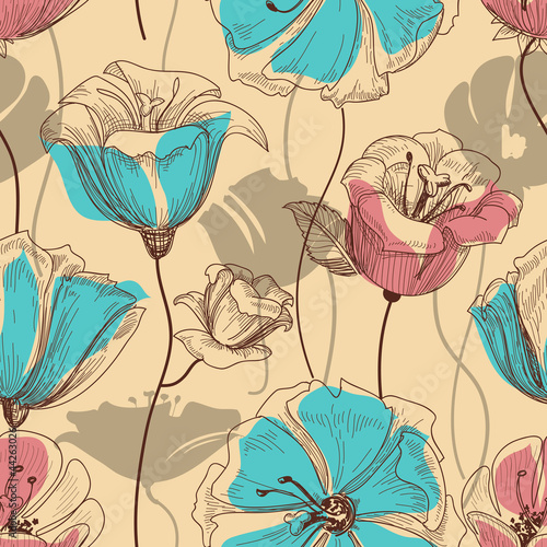 Montage in der Fensternische Abstrakte Blumen Retro floral seamless pattern