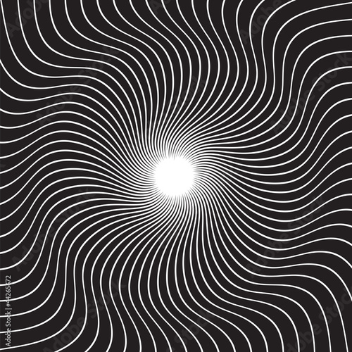 Spoed Foto op Canvas Psychedelic Black and white hypnotic background. vector illustration