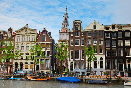 Photo  medieval houses of Amsterdam, Netherlands