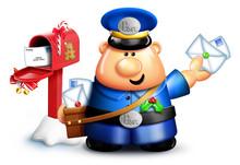 Whimsical Cartoon Mailman And Christmas Mailbox
