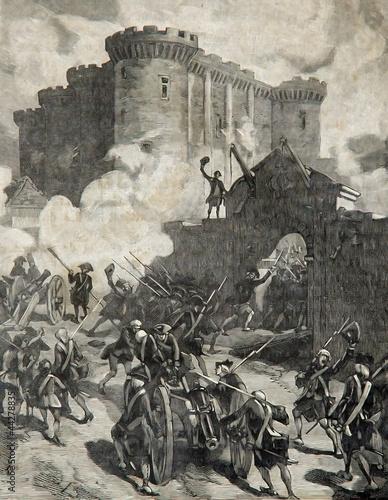 Fotografie, Tablou prise de la Bastille Paris 1789, gravure Chovin vers 1890