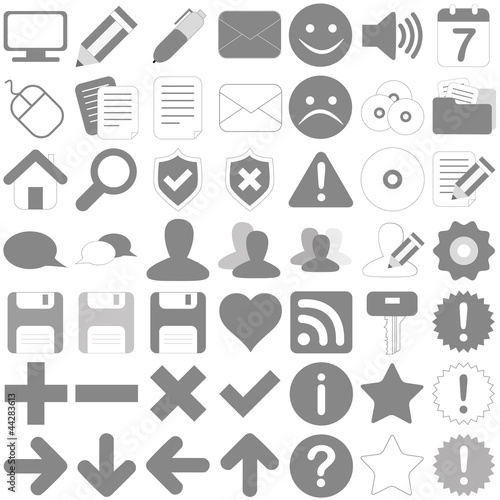Photographie  Web Icon Internet Set - gris - noir blanc