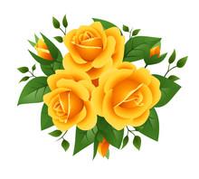 Three Yellow Roses. Vector Illustration.