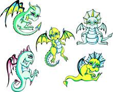 Green Baby Dragons