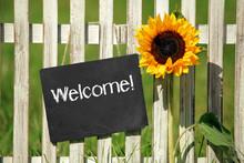 Schiefertafel Mit Welcome