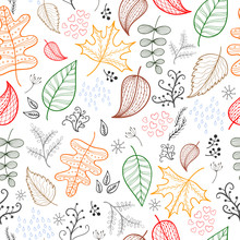 Autumn Leaves Pattern Light Background