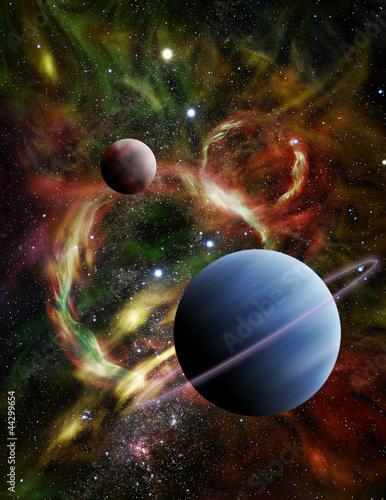ilustracja-dwoch-obcych-planet-w-kosmosie