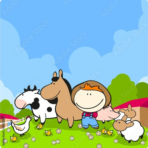 Poster Dogs Cute farmer and his animals