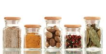 Powder Spices In Glass Jars  I...