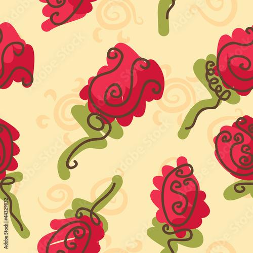 Keuken foto achterwand Abstract bloemen doodle bright roses seamless pattern