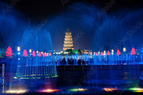 Illuminated water show at 1300-year-old Big wild goose pagoda