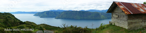 Poster South America Country Panorama of house near the Lake toba