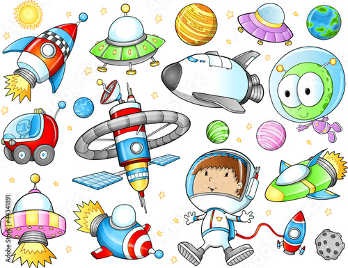 Fotografie, Obraz  Outer Space Spaceships and Astronaut Vector Set