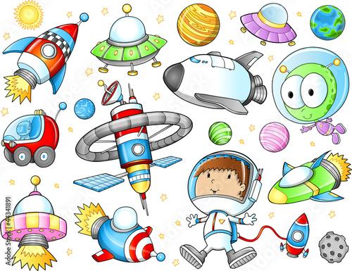 kosmiczne-statki-kosmiczne-i-astronauta-wektor-zestaw