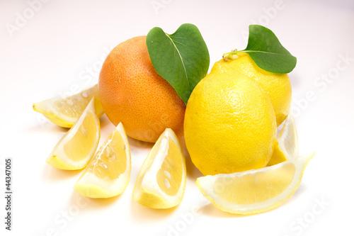 Valokuva  Orange, lemon and plums on white