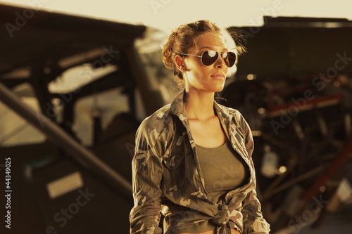 Canvas Print Fashion woman  aviator